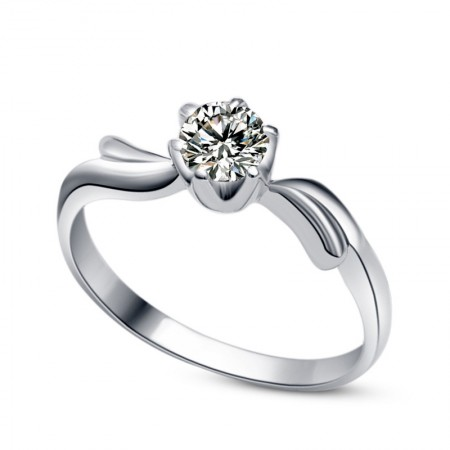 925 Sterling Silver Engagement / Wedding Ring With Synthetic Diamond