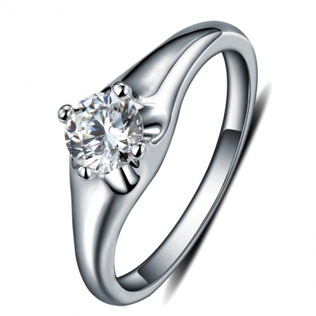 Exquisite 925 Sterling Silver Ring With SONA Diamond