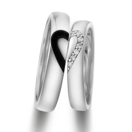 Unique 925 Sterling Silver White Gold Plated Lover's Heart Couple Rings(Price for One Pair)