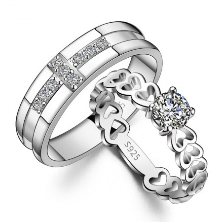 Fashionable 925 Silver Cubic Zirconia Lovers Rings (Price For a Pair)