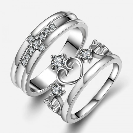 New Fashion Personalized Cross With Heart Unique 925 Sterling Silver Lover's Heart Couple Rings (Price For a Pair)