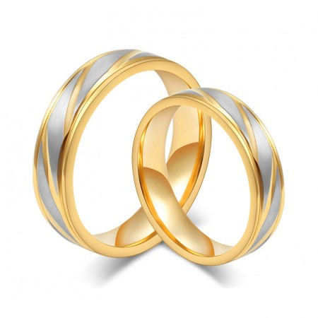 Silver Brushed Steel With Gold Titanium Lover's Rings(Price For A Pair)