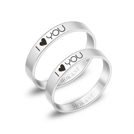New Simple Design I Love You Heart High Quality Titanium Steel Lovers Rings (Price For a Pair)