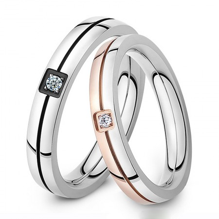 Fashion titanium steel couple diamond ring