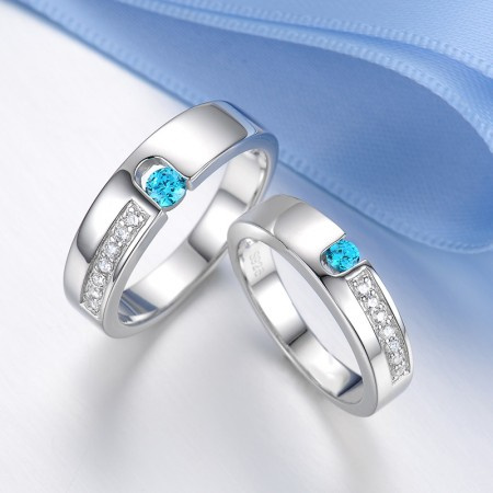 "Romantic ""You Are In My Heart"" Crystal And Sapphire Lover's Sterling Silver Rings(Price For A Pair)"