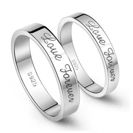 925 Sterling Silver Forever Love Simple Style Couple Rings (Price For a Pair)