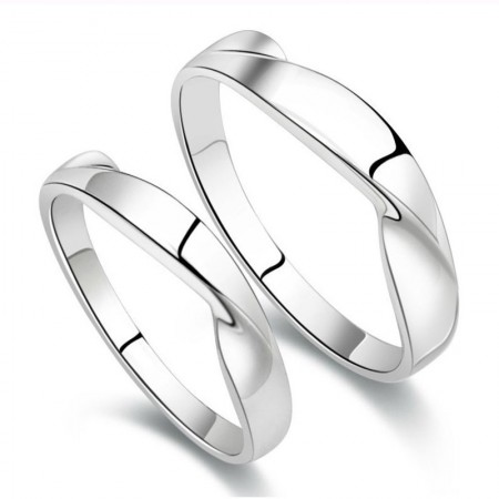 Lovely Water Wave Mobius Design Hot Sale Lover's Sterling Silver Rings(Price For A Pair)