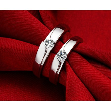 New Fashion Silver 18K Gold Plated Purple Crystal Couple Rings(Price For A Pair)