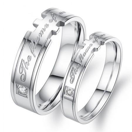 Romantic Titanium Steel Lover Rings With Rhinestone