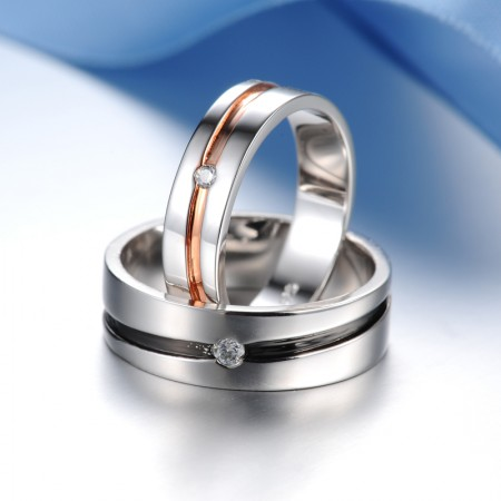 Fashionable Simple Style 925 Sterling Silver With White Gold Plated Cubic Zirconia Couple Rings (Price For a Pair)