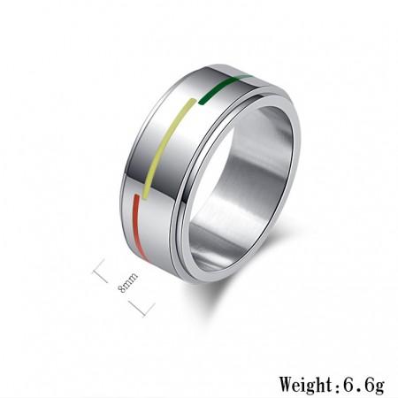 Fashionable Rotatable Titanium Steel Rainbow Flag Man Ring Woman Ring