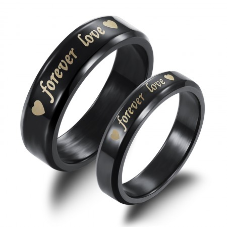 "Black Titanium ""Forever Love"" Lover's Rings(Price For A Pair)"