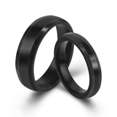 Black Lover Rings Engravable Titanium Steel Rings For Couples