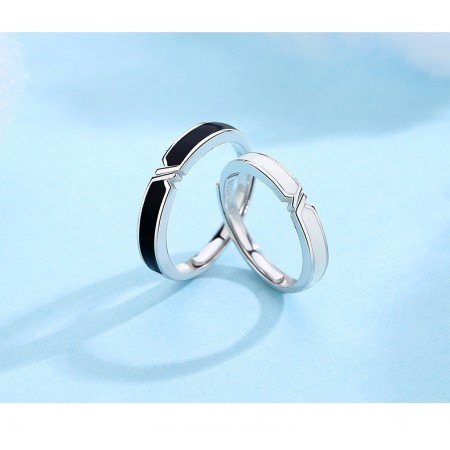 Adjustable 925 Sterling Silver Lover Rings With CZ Inlaid Two Colors Available(Price For a Pair)