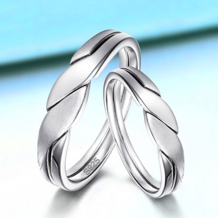 Sand Blast Surface 925 Sterling Silver Rings For Couple(Price For a Pair)