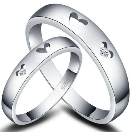 Hollow Heart 925 Sterling Silver Couple Rings For Lovers With CZ Inlaid(Price for a Pair)