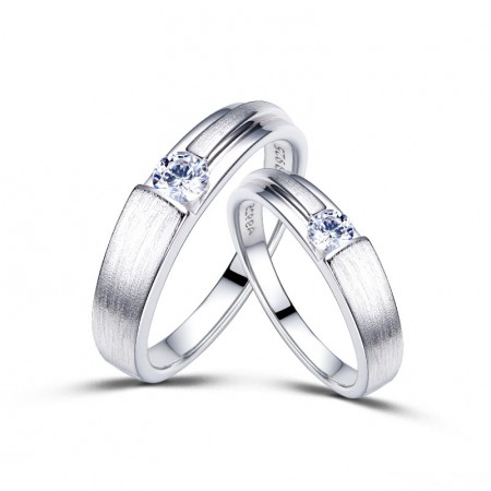 Dull Polish Platinum Plated 925 Sterling Silver Lover Rings(Price For a Pair)