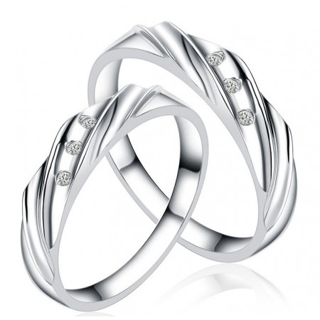Inlaid With Diamonds s925 Sterling Silver Lovers Wedding Rings Couple Rings