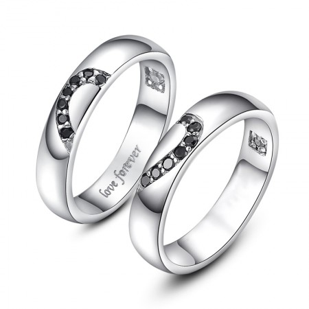 Forever Love 925 Sterling Silver Matching Hearts Rings For Couple(Price For a Pair)