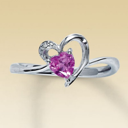 Silver & Pink Stone Heart Ring