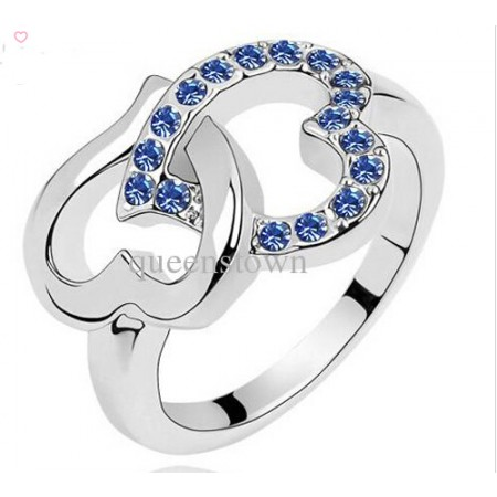New Diamond Heart Ring Korean Full Rhinestones Love Heart Shaped Rings