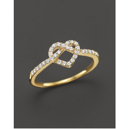 Diamond Heart Knot Ring in Yellow Gold Plated