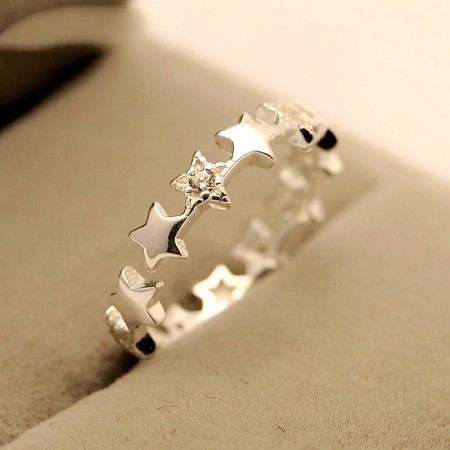 Starry silver simple ring 925