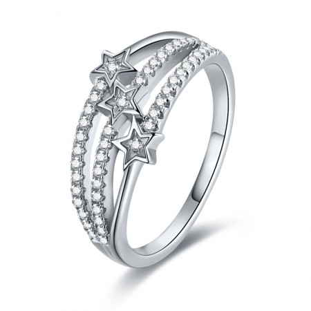Silver Ring three rows of micro-diamond ring diamond star Pentagram