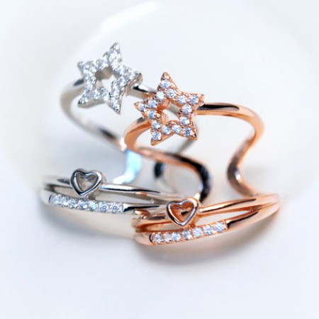 Pentacle star temperament exaggerated multilayer diamond ring opening
