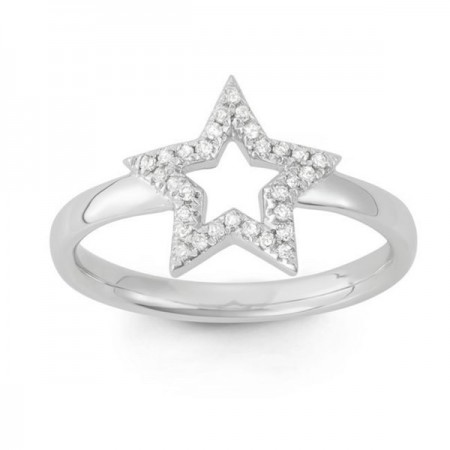 14KT 1/10ct TDW Diamond Open Star Midi Ring (G-H, I1-I2
