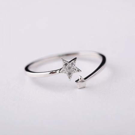 Wild fashion 925 sterling silver pentacle star opening Micro Pave Ring