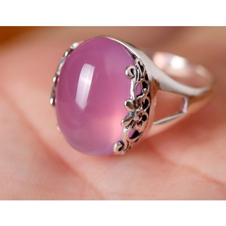Japan and South Korea 925 Sterling Silver Thai Natural Pink Crystal Opening Ring Mother's Day gift