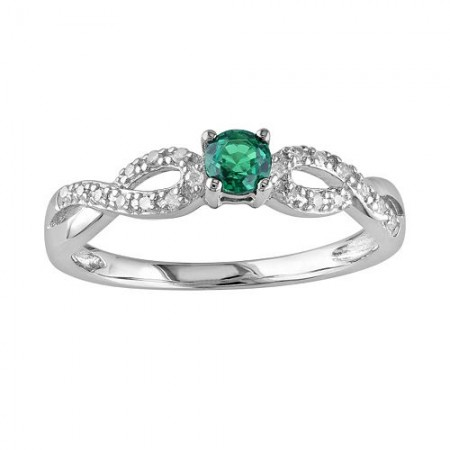 Sterling Silver Lab-Created Emerald Infinity Ring