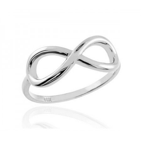 Polished 10k White Gold Plated Infinity Ring