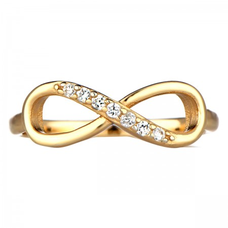 Gold stone CZ Infinity Ring
