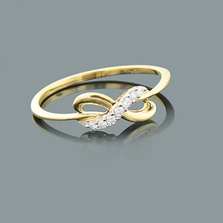 THIN LADIES DIAMOND INFINITY RING 10K GOLD JEWELRY