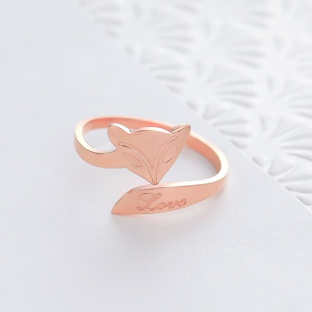 18K rose gold fox ring