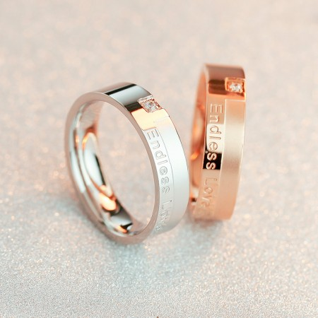 18K rose gold Endless Love single diamond couple rings