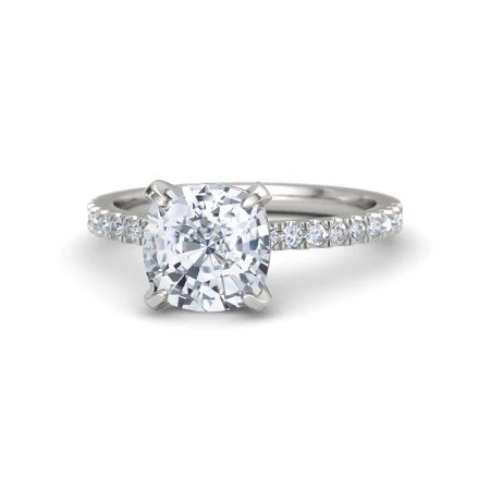 1.15 CT Cubic Zirconia 4-prong 925 Sterling Silver Platinum Plated Women's Ring