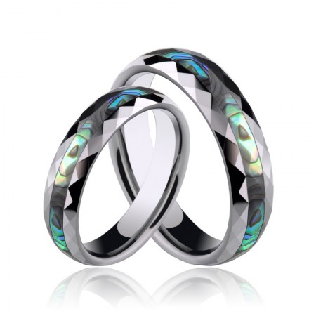 Tungsten with Mother of Peal Surface Couple Rings