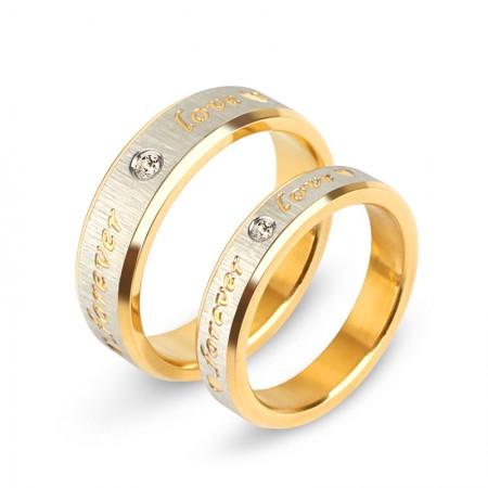 High Quality Titanium Steel Cubic Zirconia Couple Rings