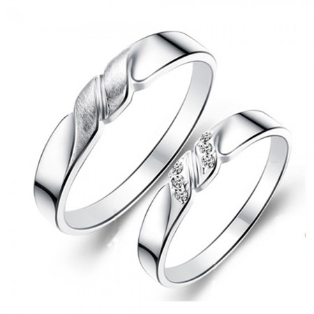 925 Silver Rhodium-Plated Lettering Couple Rings