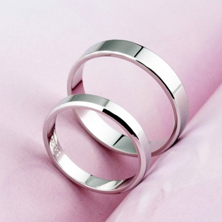 925 Sterling Silver Simple Korean Smooth Creative Engraved Ring (Price For a Pair)