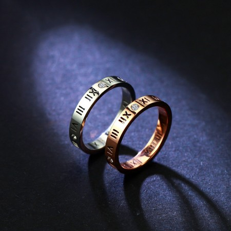 18K Korean Version Of The Lucky Roman Numeralrose Gold Plated Ring