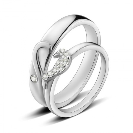 925 Silver Love Heart-Shaped Convention Creative Engraved Couple Ring