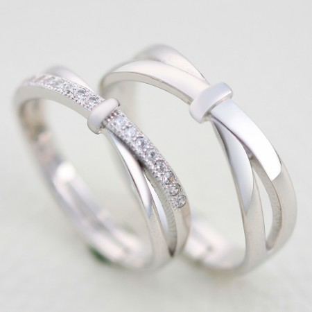 925 Sterling Silver Simple Opening Engraved Couple Rings