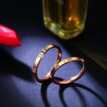 Titanium Steel Three Diamond Rose Gold Couple Ring