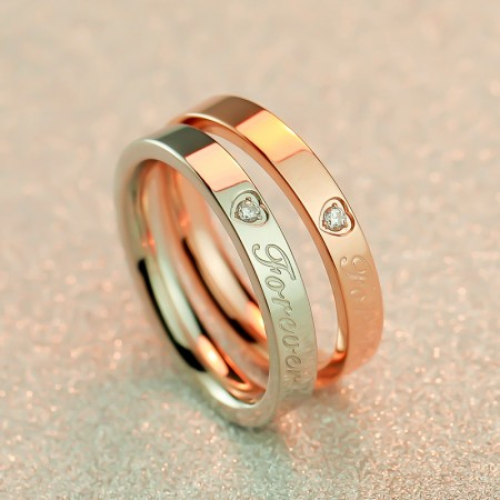 Rose Gold Fashion Titanium Steel Couple Rings