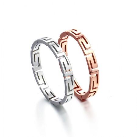 Fashion 18K Rose Gold Titanium Steel Couple Rings