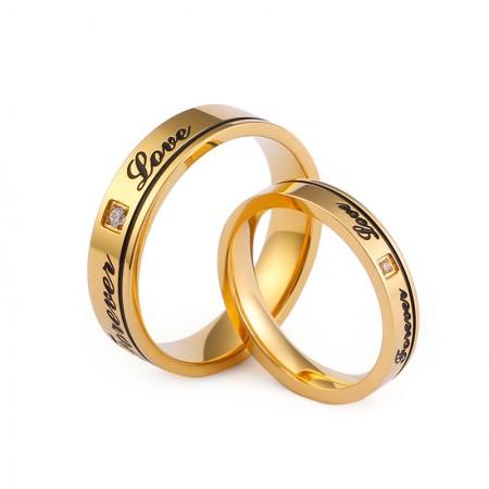 18K Rose Gold Forever Love Couple Rings